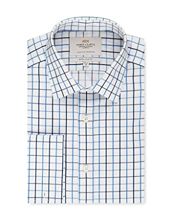 86fbac1d123 HAWES   CURTIS Mens Formal Navy   White Grid Check Extra Slim Fit Shirt -  Double