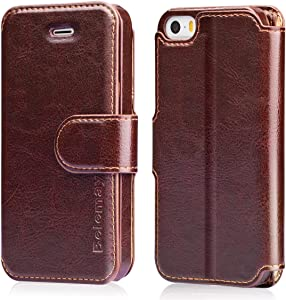 Belemay iPhone SE Case (2016 Edition), iPhone 5S Case, iPhone 5 Case, Genuine Leather Wallet Case, Flip Folio Cover Magnetic, Card Holder Slots, Compatible iPhone SE (2016 Edition)/5S / 5, Brown