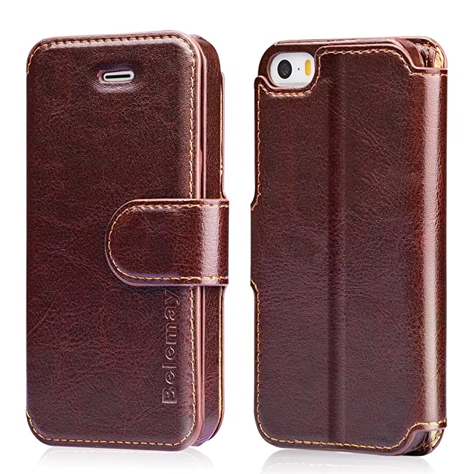 official photos 5e85f 5c711 Belemay iPhone SE Case, iPhone 5S Case, iPhone 5 Case, Genuine Leather  Wallet Case, Flip Folio Cover Magnetic Closure, Card Holder Slots,  Kickstand, ...