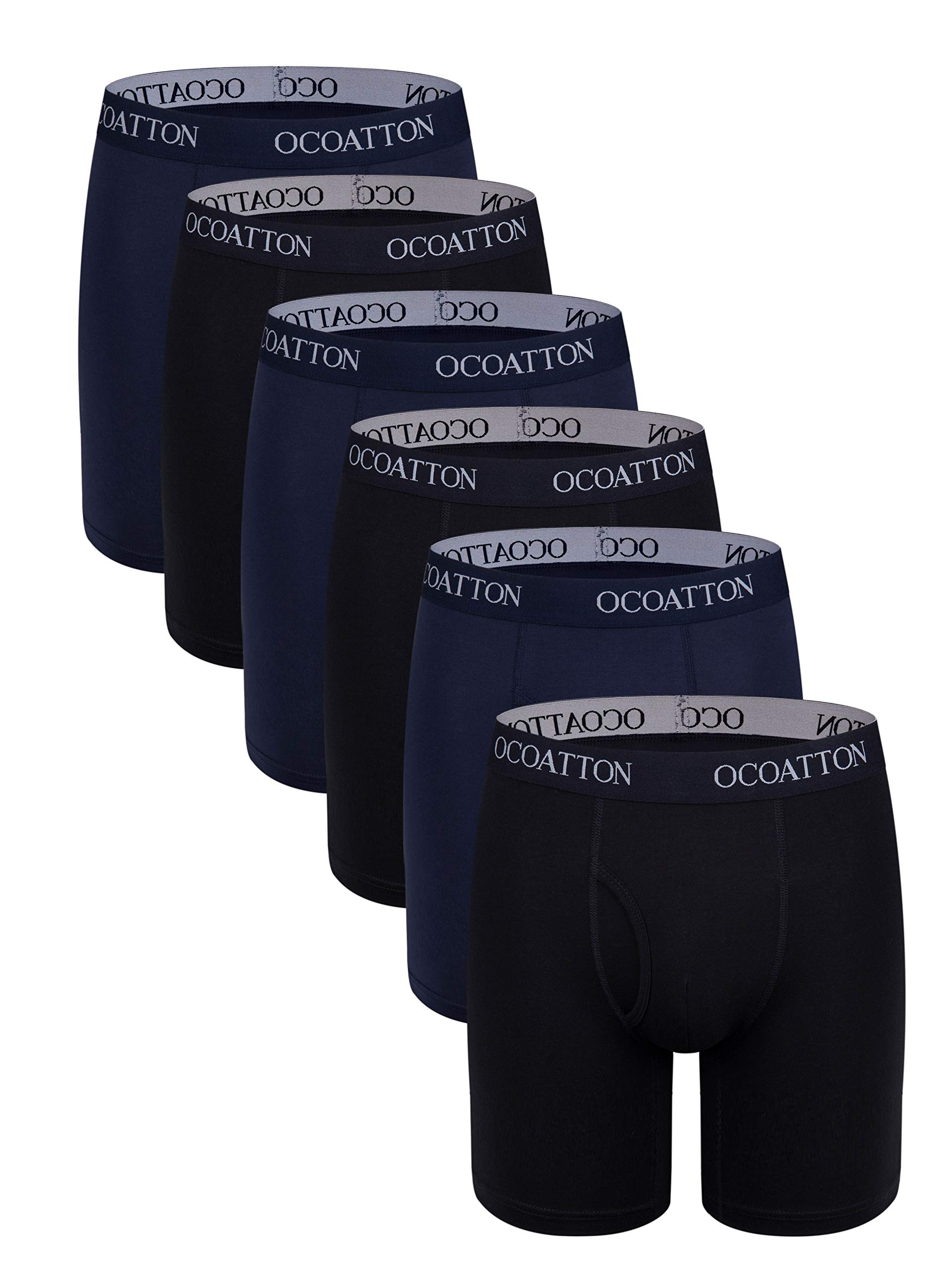 OCOATTON Men's Boxer Briefs Long Leg Big and Tall Combed Cotton Underwear Open Fly 6-Pack (3black/3blue, 5XL) by OCOATTON