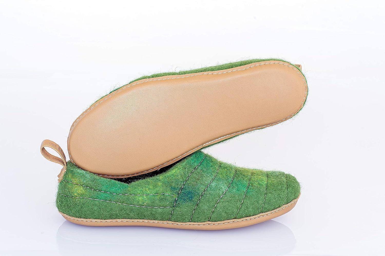 BureBure Womens Wool Slipper Cocoon Green Chartreuse Handmade in Europe