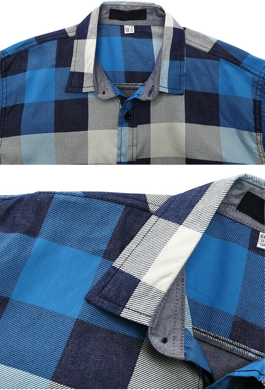 Fitted Herren-Hemd,Hemd,Trachten-Hemd Pinkpum Trachtenhemden f/ür Herren Kariertes Langarmhemd mit Krempelarm