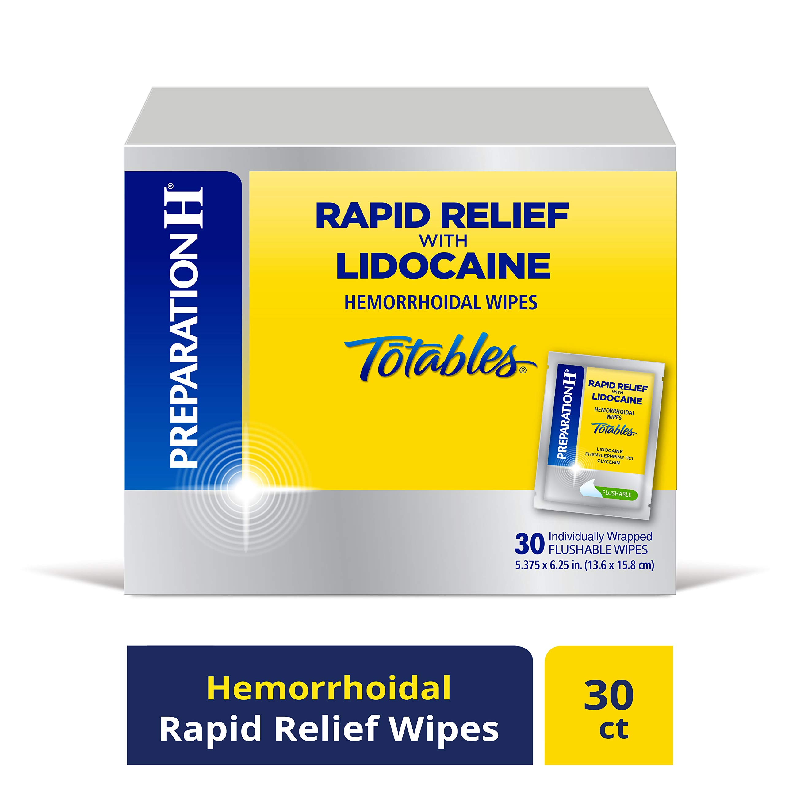 PREPARATION H Rapid Relief with Lidocaine Hemorrhoid Symptom Treatment Flushable Wipes, Numbing Relief for Pain, Burning & Itching, Reduces Swelling, 30 Count Box by Preparation H