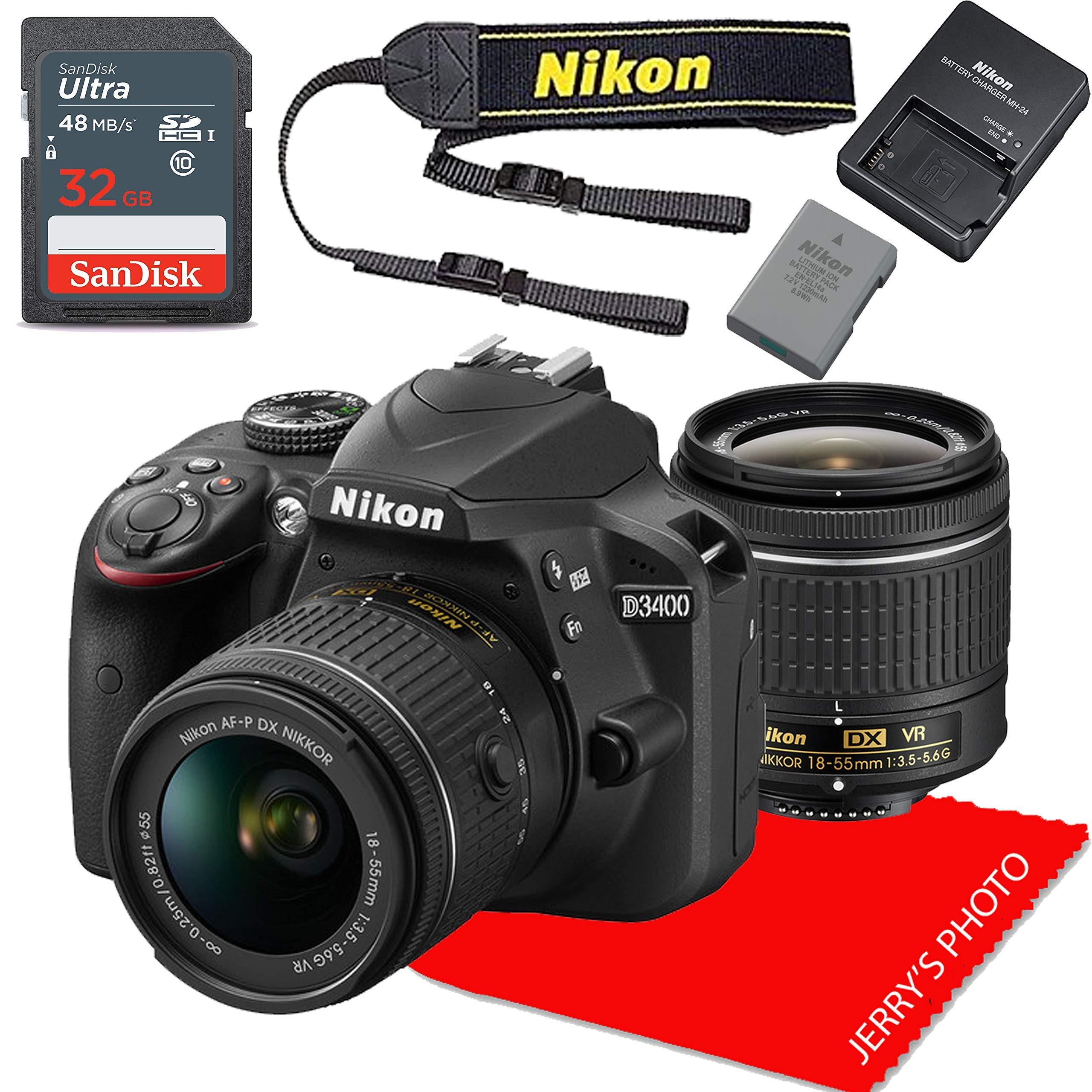 Nikon D3400 w/AF-P DX NIKKOR 18-55mm f/3.5-5.6G VR + 32GB Memory Bundle (Renewed) by Nikon