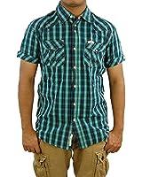 SCOTCH & SODA Men's Short Sleeve Check Western Shirt, Large, Green/Navy TRIM FIT.