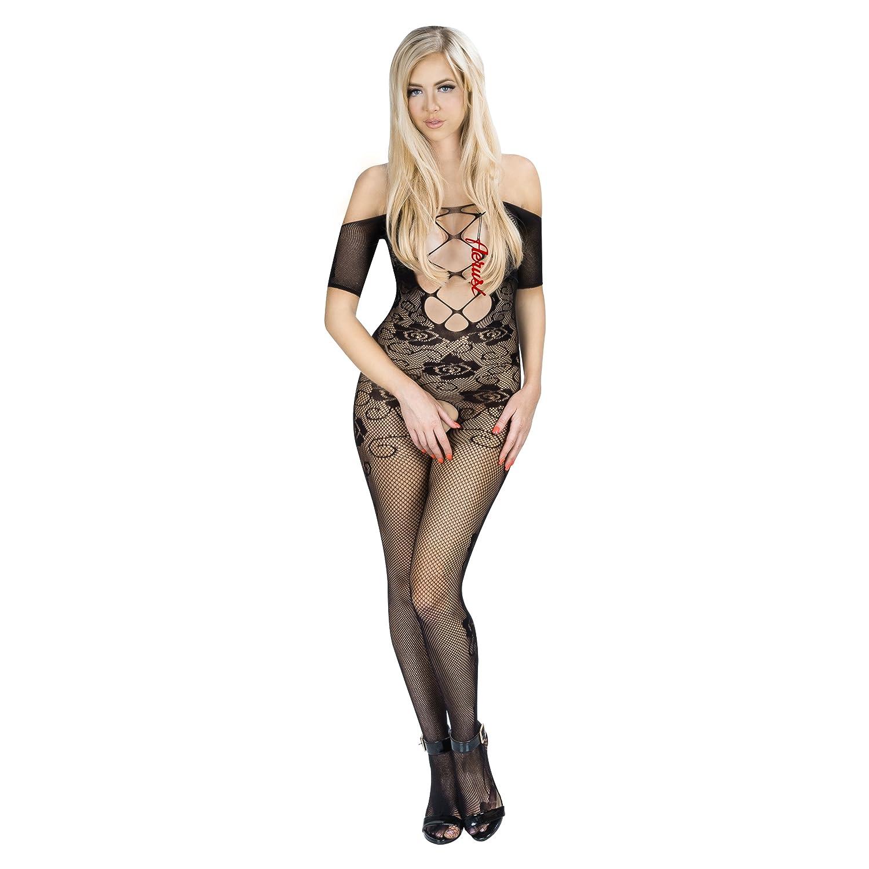 96d5b794c7c Amazon.com  Aerusi Women s Sexy Lingerie Fishnet Body Stocking with Open  Crotch (Black)  Clothing