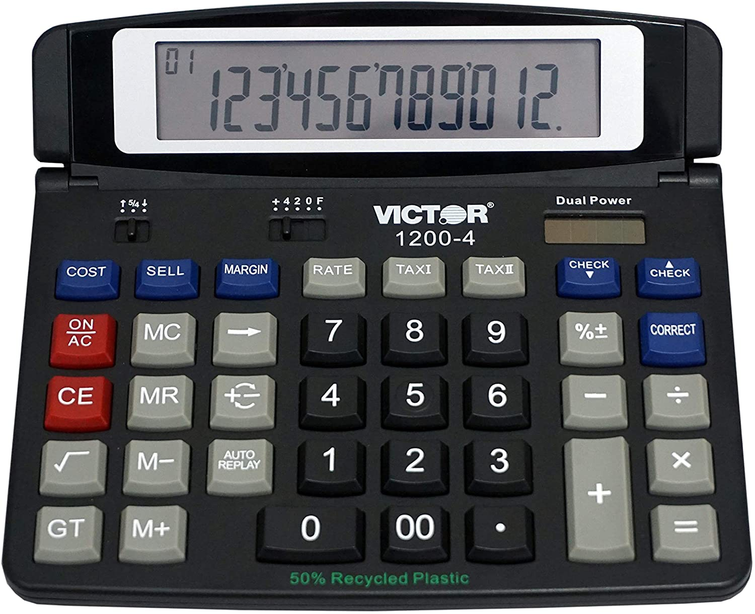 Victor 1200-4 12-Digit Large Professional Desktop Calculator, Battery and Solar Hybrid Powered Tilt LCD Display, Great for Home and Office Use, Black