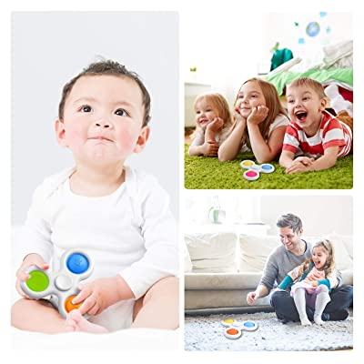 Decompression Handheld Toys Gift for Kids HooYiiok Simple Dimple Fidget Toys Blue Pink Yellow Rotatable Push Pop Pop Fidget Toy Stress Relief Sensory Toy That Easy to Carry
