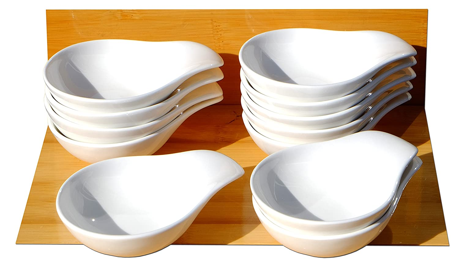 Canapé spoons sauce and condiment dishes round handled X 12 white Gifts Of The Orient GOTO