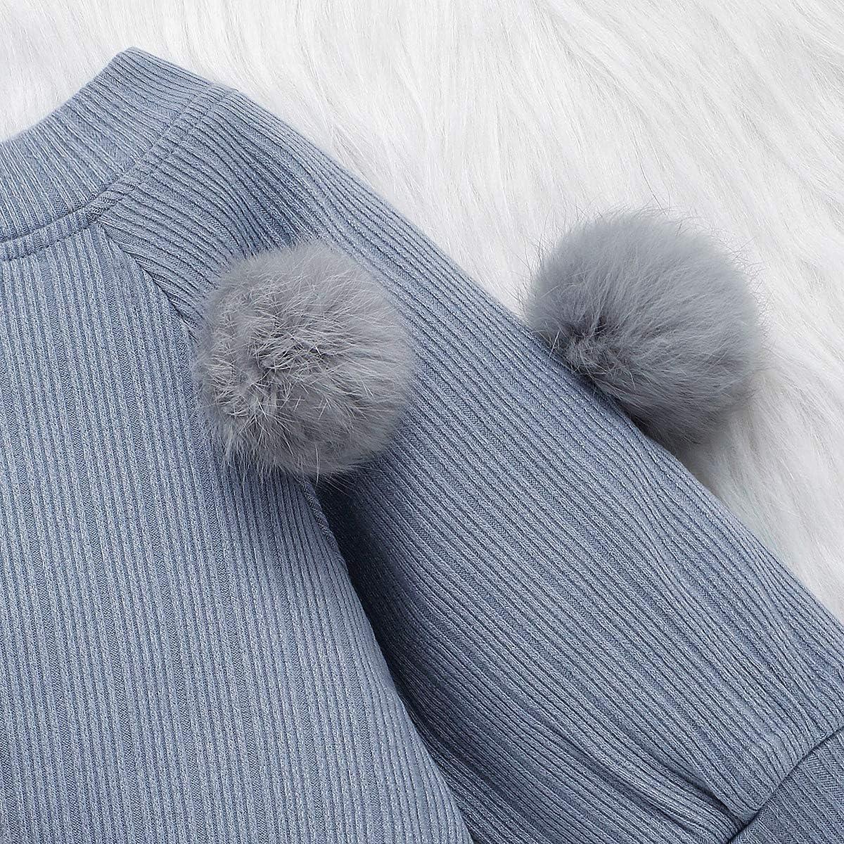 Kleinkind Baby M/ädchen Rock Set Langarm Pompon Strickpullover Top Button Rock Herbst Winter Outfits Kleidung