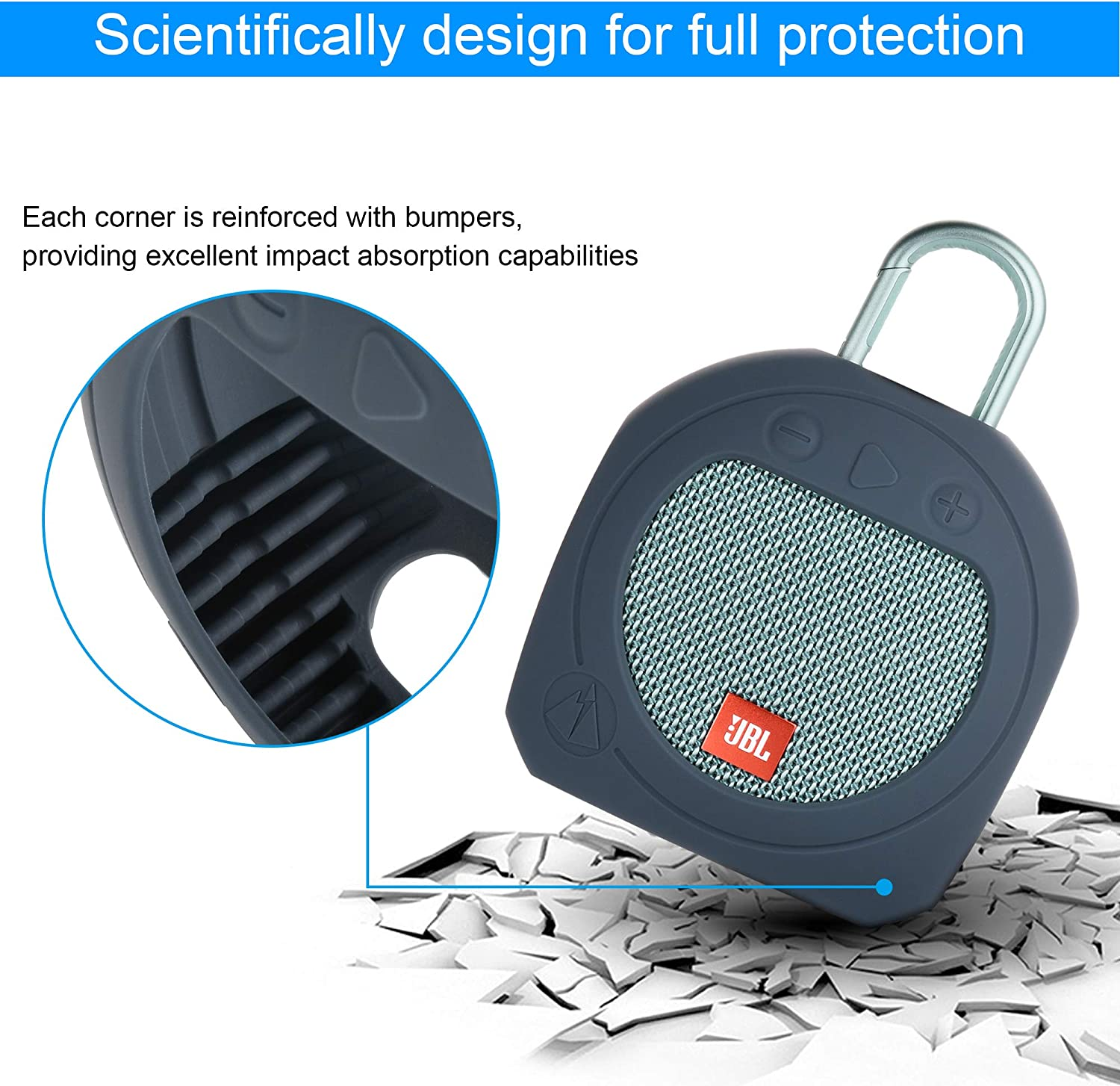 Black TXEsign Protective Silicone Stand Up Carrying Case for JBL Clip 3 Waterproof Portable Bluetooth Speaker