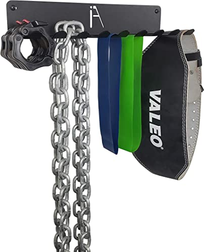 IRON AMERICAN Omega Multi-Purpose – Gym Storage Exercise Band Jump Rope Rack – Heavy-Duty Steel Rack for Lifting Belts, Chains, Exercise Bands, Jump Ropes Mounting Hardware Included