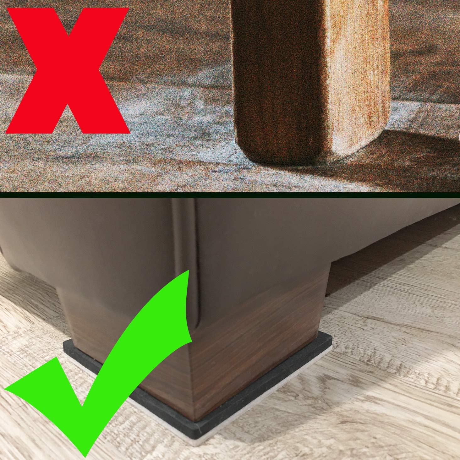 Liyic 20 Pack 3in.Square Felt Sliders for Hard Surfaces-Felt Furniture Sliders - Heavy Duty Sliders – Reusable Hardwood Floor Sliders -Furniture Moving Sliders-Sofa Sliders Gliders Glides Movers by Liyic (Image #5)