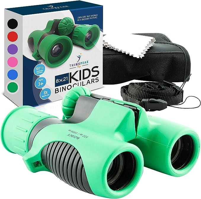 Highttoy Kids Binoculars,8x21 Magnification Shockproof Binoculars for Boys Age 3-12 Birthday Gifts High Resolution Compact Binoculars for Kids Bird Watching Hiking Outdoor Games for Boys Teens