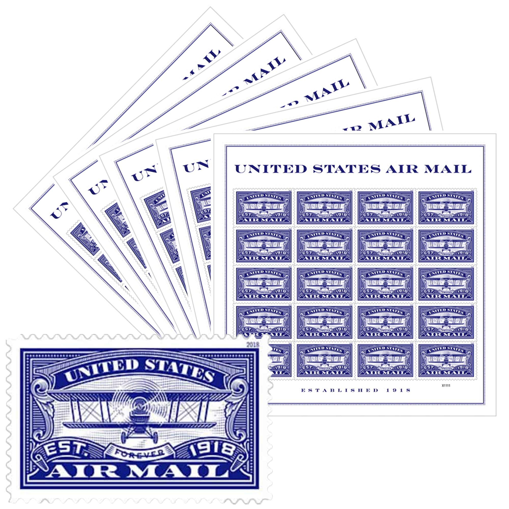 USPS Forever First Class Stamp: Air Mail Blue, 5 Sheets (100 Stamps) Wedding Celebration by USPS (Image #1)