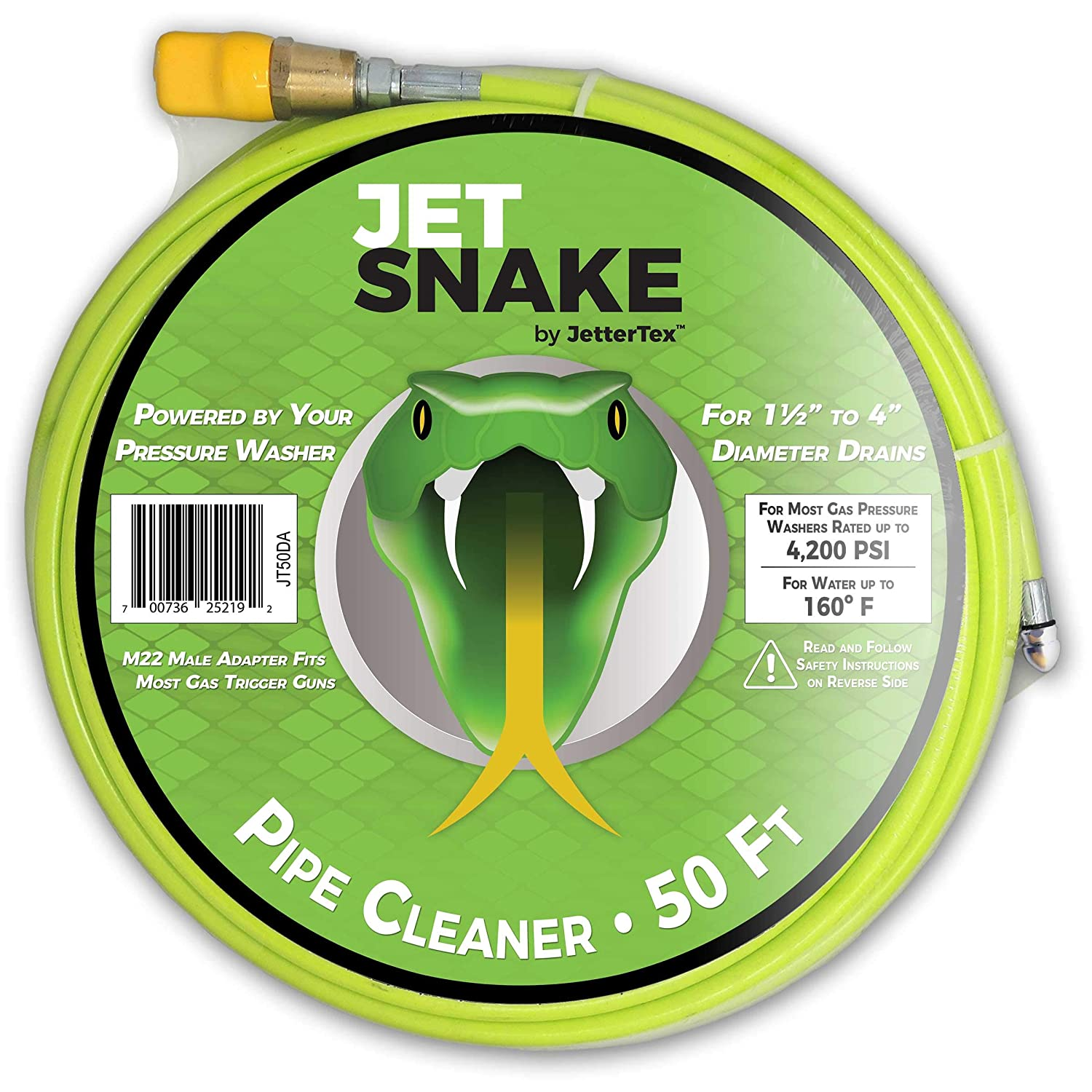 JetSnake Sewer Jetter - 50 FT Drain Cleaner for Your Gas Pressure Washer