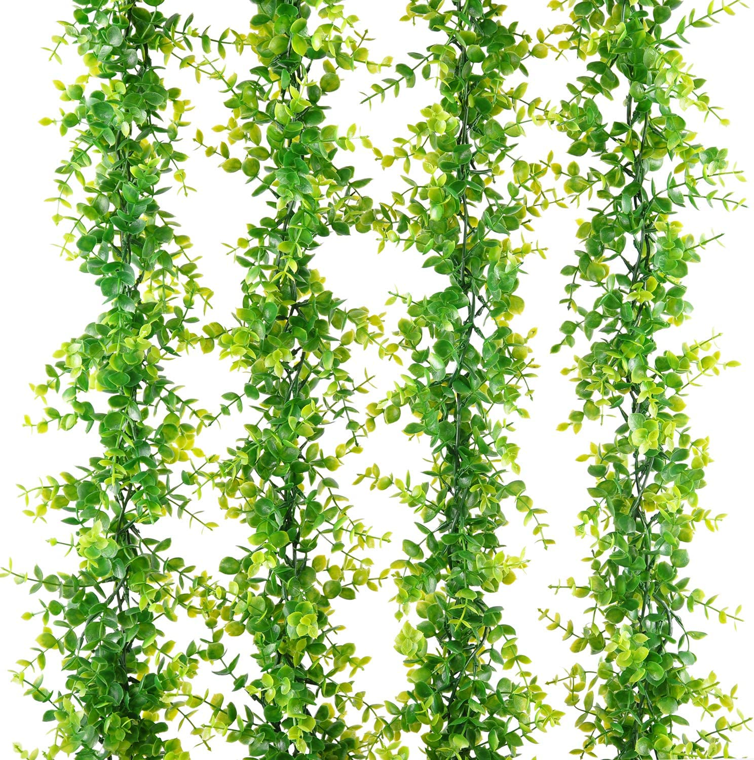 Naidiler 4 Pack Faux Eucalyptus Garland, Fake Eucalyptus Greenery Garland for Wedding Backdrop Arch Wall Décor, 6Ft/pcs Artificial Hanging Plants Vine for Farmhouse Table Party Wedding Decor