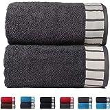 Trident His & Her 550 GSM 2 Pcs Cotton Bath Towel Gift Set - Grey