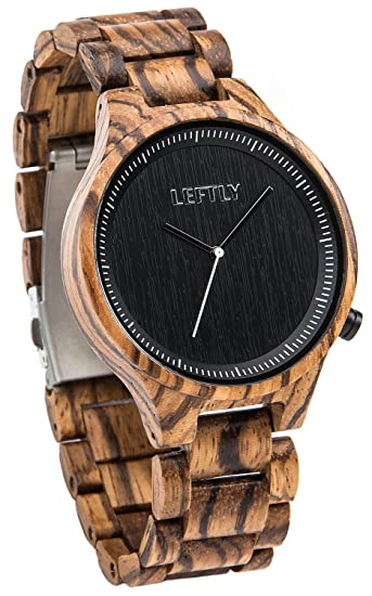 Amazon.com: LEFTLY Mens Wooden Watch Handmade Zebra Wood Band Lightweight  Analog Quartz Wrist Watch: Watches