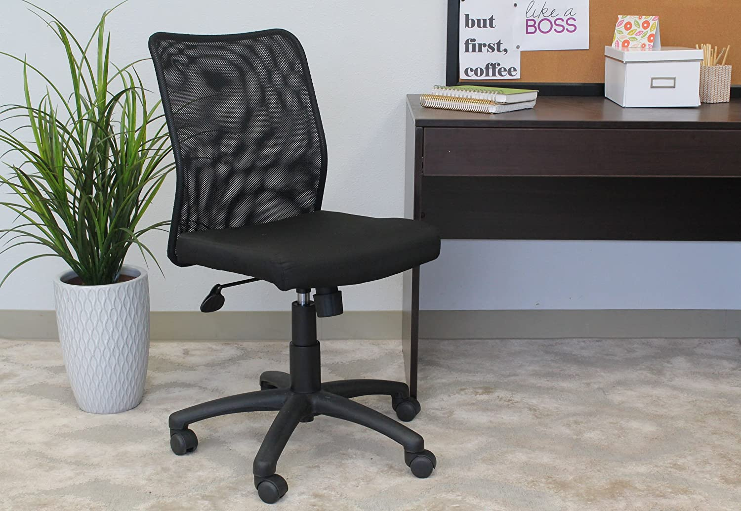 Boss Office Products B6105 Budget Mesh Task Chair Without Arms In