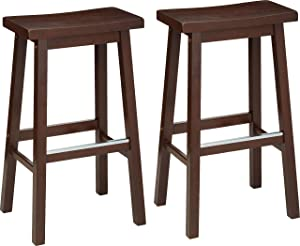 "AmazonBasics Classic Solid Wood Saddle-Seat Counter Stool with Foot Plate - 29"", Walnut, 2-Pack"