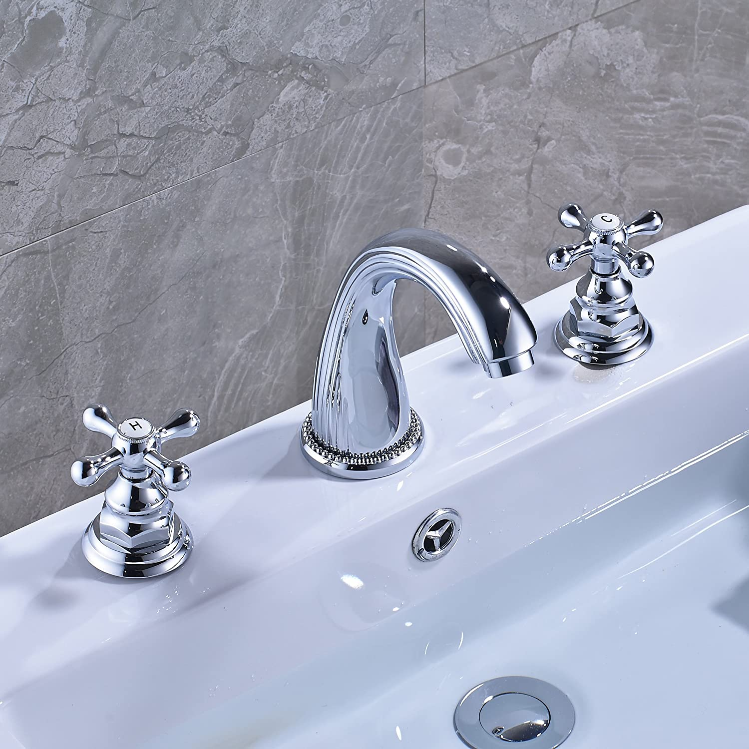 Rozin Chrome Finish Widespread Two Handles Bathroom Sink Faucet 3 Holes Deck Mount Vessel Basin Mixer Tap Rozinsanitary