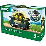 BRIO World 33896 - Goldwaggon mit Licht Zubehörteil Holzeisenbahn