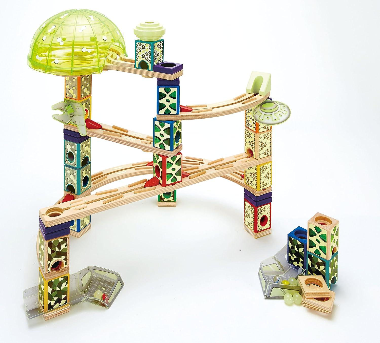 Award Winning Hape Quadrilla Wooden Marble Run Construction - Space City E6017