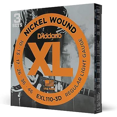 D'Addario EXL110-3D - Juego de cuerdas para guitarra eléctrica de acero y níquel (pack 3 juegos)