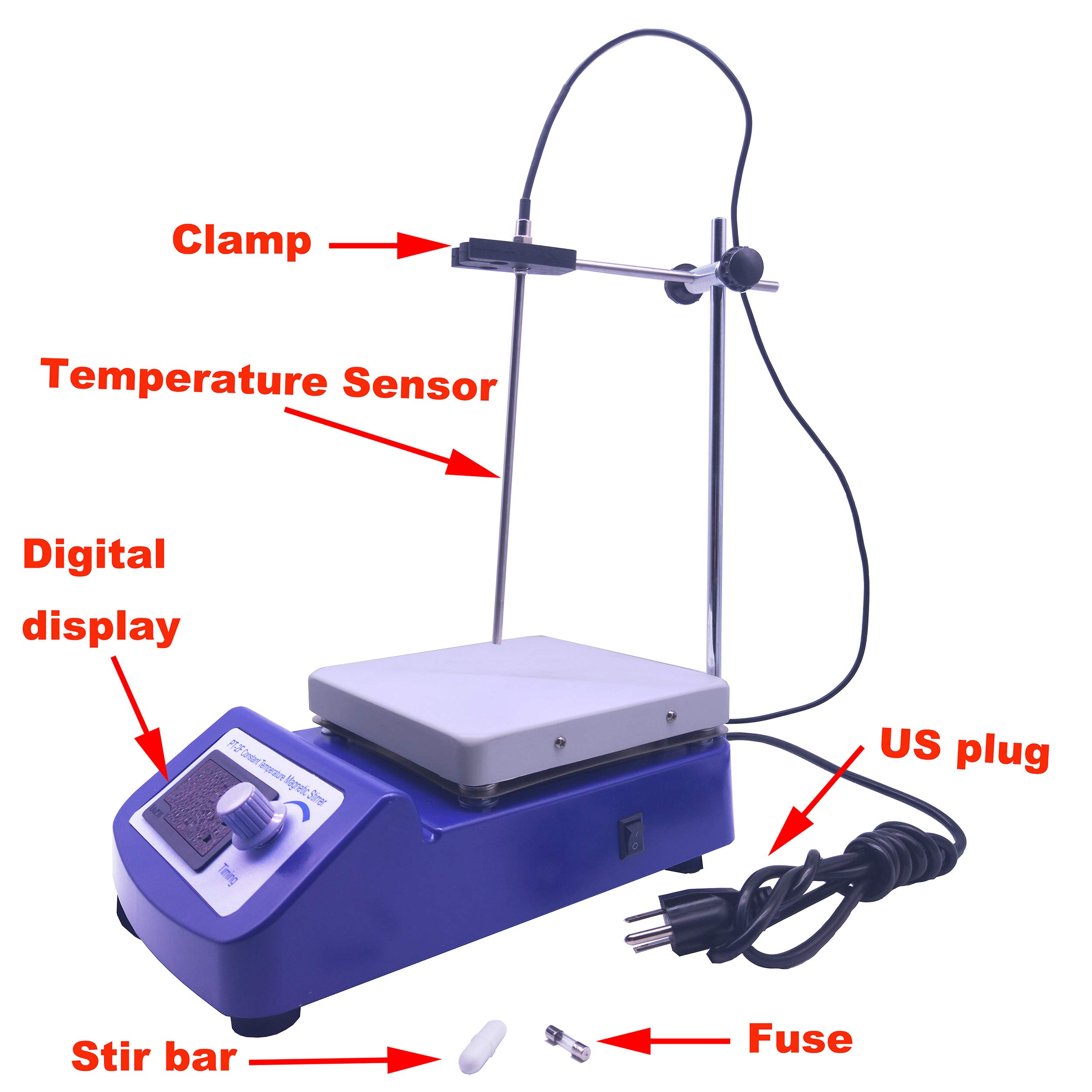 Digital Magnetic Stirrer Hot Plate Constant Temperature Control with Temperature Sensor and Stir Bars by LLLAB (Image #4)