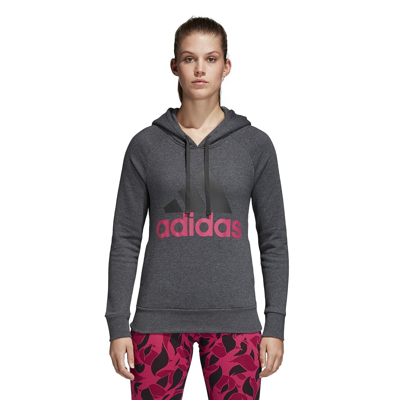 Dark Grey Heather adidas Women's Essentials Linear Overhead Fleece Hoodie