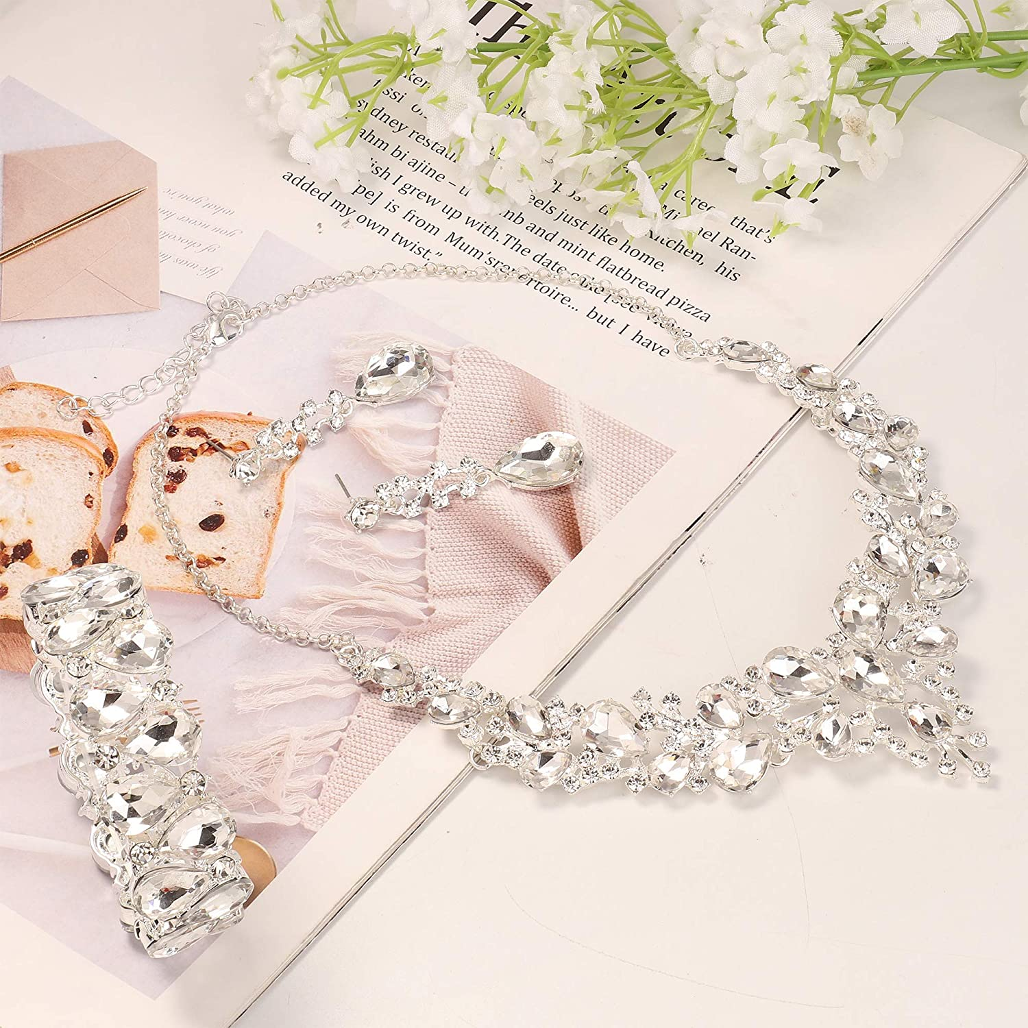 Subiceto Crystal Bridal Jewelry Sets for Women Necklace Earrings Bracelet Set for Wedding Rhinestone Bridesmaid Gifts fit with Wedding Dress