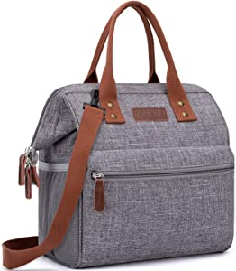 Insulated Lunch Bag, Wide-Open Lunch Box for Work/Picnic/Hiking/Beach/Fishing, Water-Resistant Leakproof Lunch Tote Bag for Women and Men (Grey+Shoulder Strap)