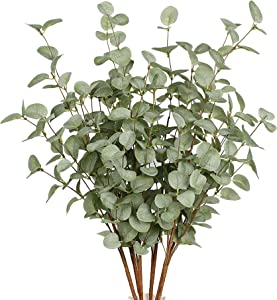 VGIA 6 Pcs Artificial Greenery Stems Eucalyptus Leaf Spray in Green Silk Plastic Plants Floral Greenery Stems for Home Party Wedding Decoration