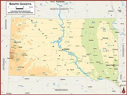 Amazon Com Academia Maps South Dakota State Wall Map Fully