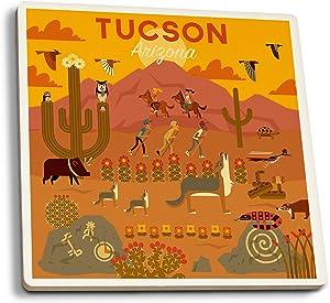 Lantern Press Tucson, Arizona - Geometric (Set of 4 Ceramic Coasters - Cork-Backed, Absorbent)