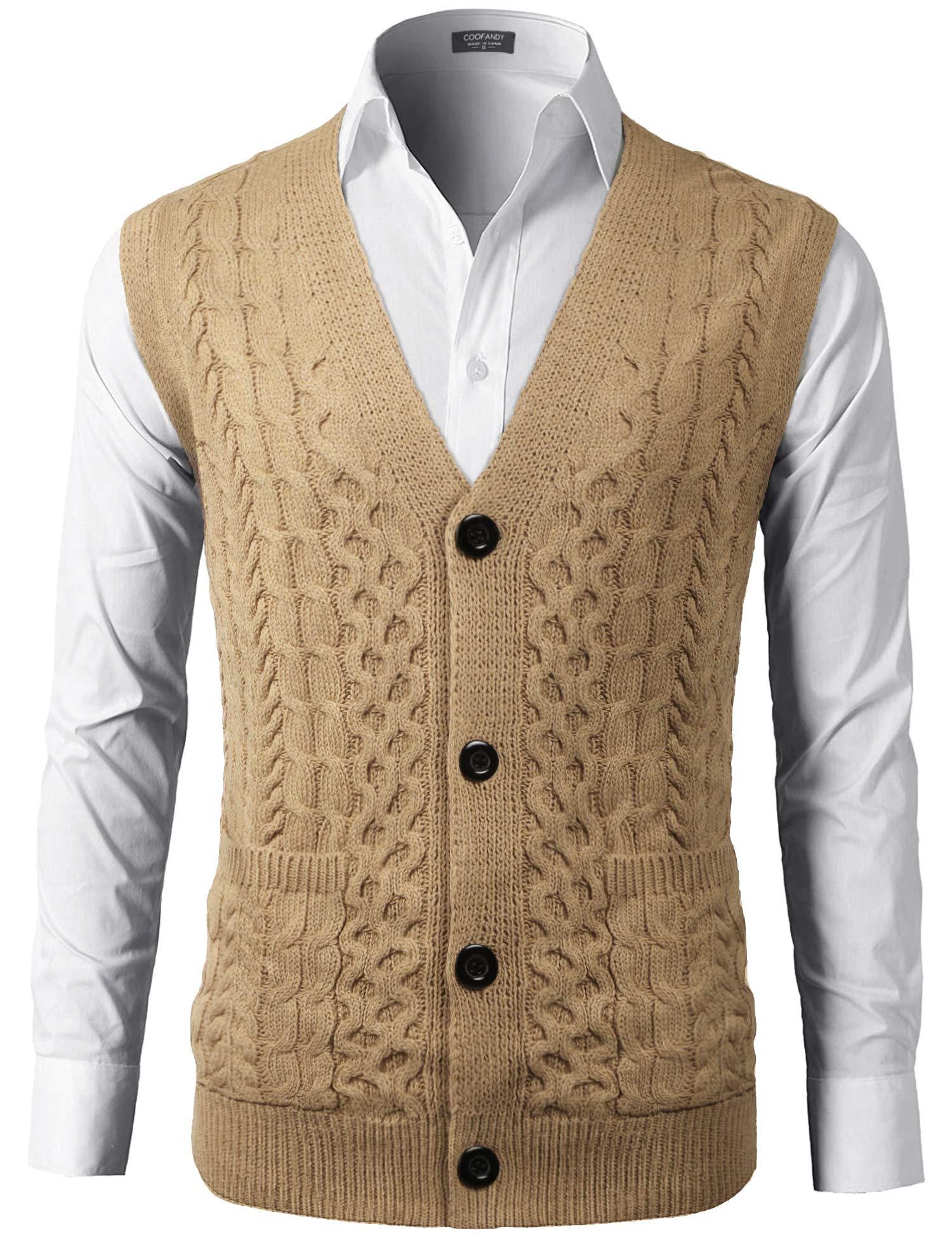 COOFADNY Mens Sweater Vest V-Neck Sleeveless Knit Cardigan Waistcoat with Pocket Khaki by COOFANDY