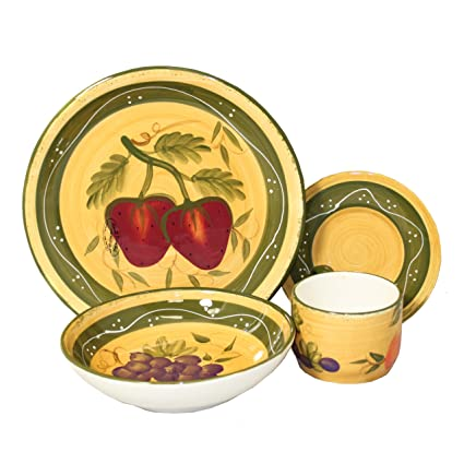 Tuscan Collection Deluxe 16-Piece Handcrafted Dinnerware Set  sc 1 st  Amazon.com : tuscan inspired dinnerware - pezcame.com
