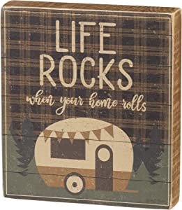 PBK Camping Lover Life Rocks When Your Home Rolls Decorative Wooden Block Sign 4.5 Inch x 5 Inch