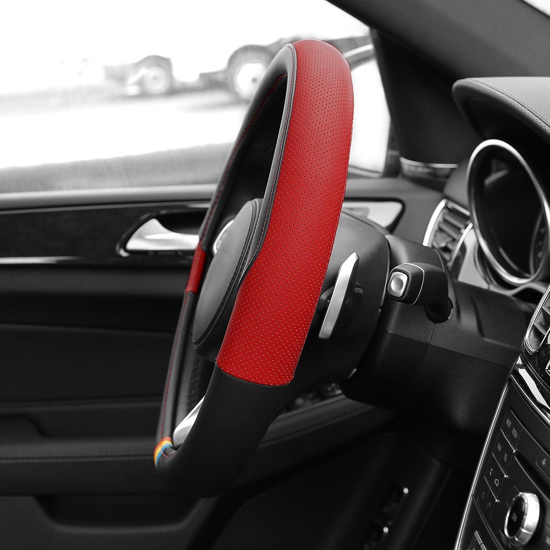 FH Group FH2006BLACK Steering Wheel Cover Microfiber Embossed Leather Black