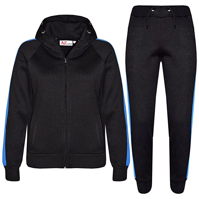 A2Z 4 Kids/® Kids Tracksuit Girls Boys Plain Contrast Stripes Hooded Jogging Suit Top Bottom Joggers Age 7 8 9 10 11 12 13 Years