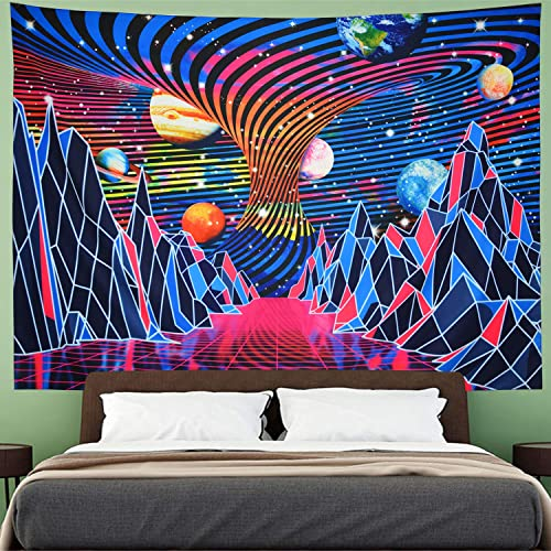 Trippy Mountain and Planet Tapestry Hippie Tornado Waves Tapestry Retro Abstract Space Landscape Tapestry Psychedelic Galaxy Stars Tapestry Wall Hanging for Room