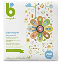 Babyganics Baby Wipes, Unscented, 240 Count (3 Packs of 80 Wipes), Packaging may vary
