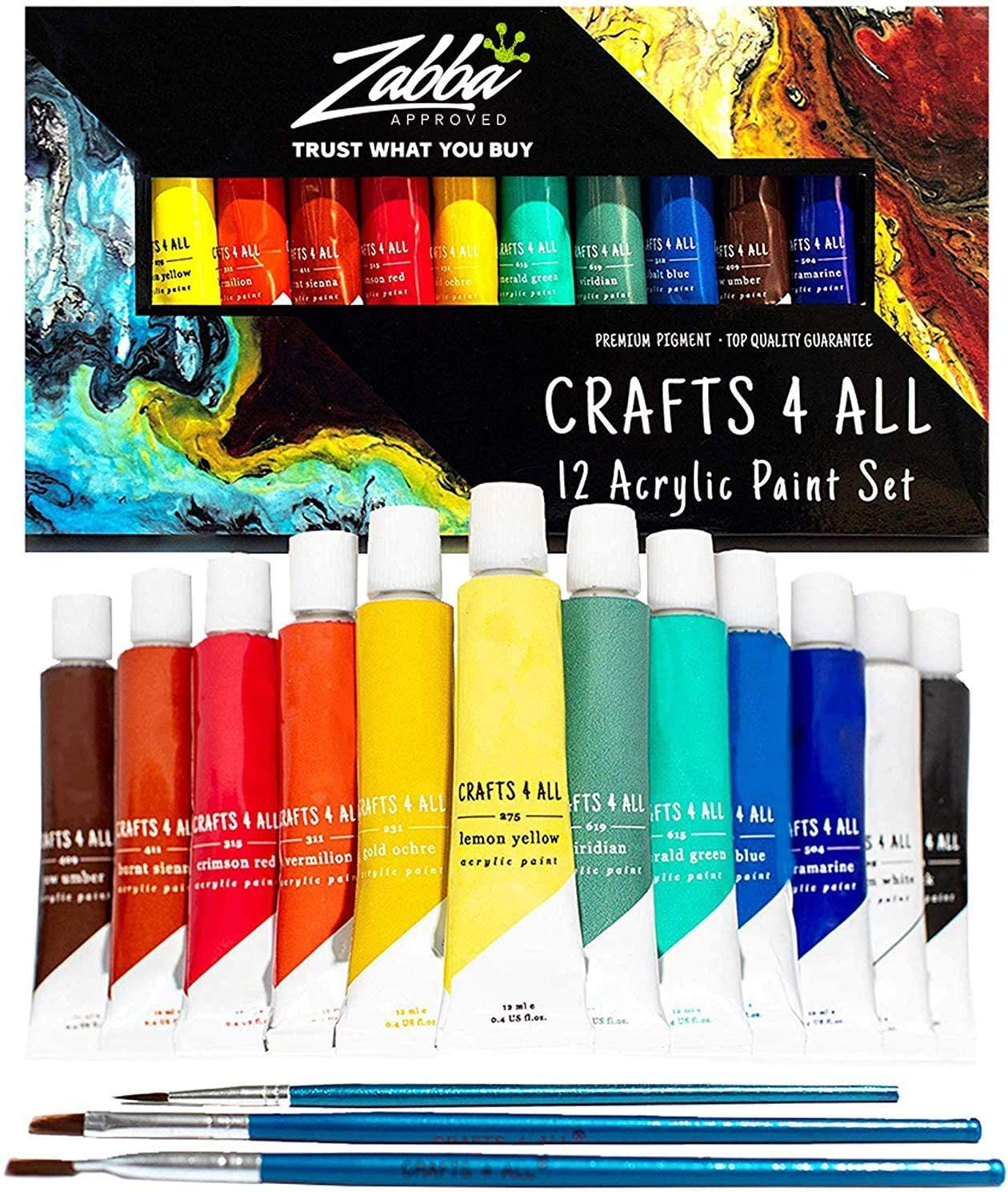 Amazon Com Acrylic Paint Set 12 Colors By Crafts 4 All Perfect For Canvas Wood Ceramic Fabric Non Toxic Vibrant Colors Rich Pigments For Beginners Students Professional Artist Arts Crafts