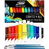Crafts 4 ALL Acrylic Paint Set 12 Colors Perfect for Canvas, Wood, Ceramic, Fabric. Non Toxic & Vibrant Colors. Rich Pigments