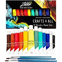 Crafts 4 ALL Acrylic Paint Set 12 Colors Perfect for Canvas, Wood, Ceramic, Fabric. Non Toxic & Vibrant Colors. Rich…