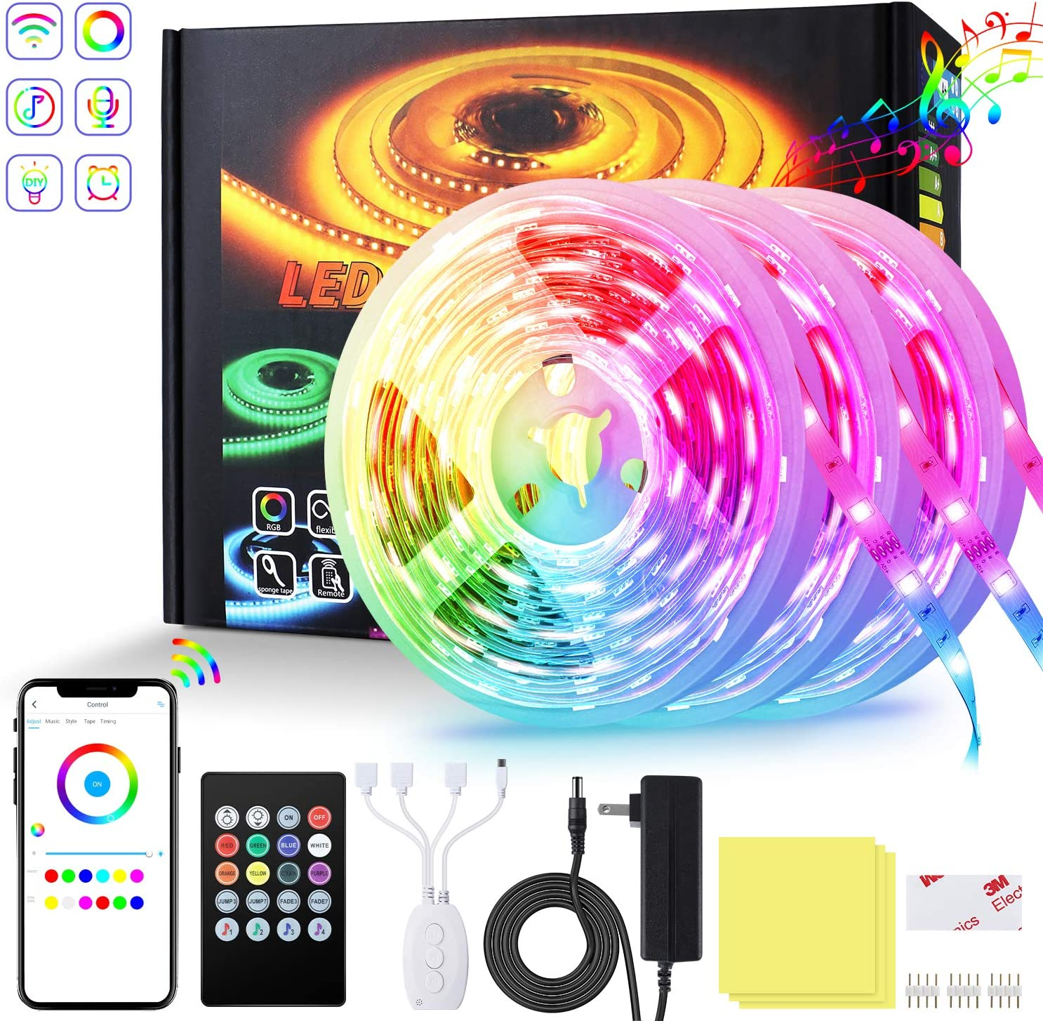 Led Strip Lights for Bedroom 50ft RGB LED Lights SMD 16 Million Colors LED Strip Lights, Music sync Color Changing LED Lights Smart WiFi Works with Alexa for Kitchen Bedroom Party Home Decor Holiday