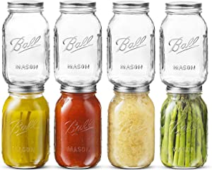 8 Pack Regular Mouth Mason Jars, STRAWBLEAG 16 OZ/Capacity Clear Glass Can Large Mason Jars with Lids for Jam, Honey, Fermenting Fruits and Vegetables, Dishwasher Safe