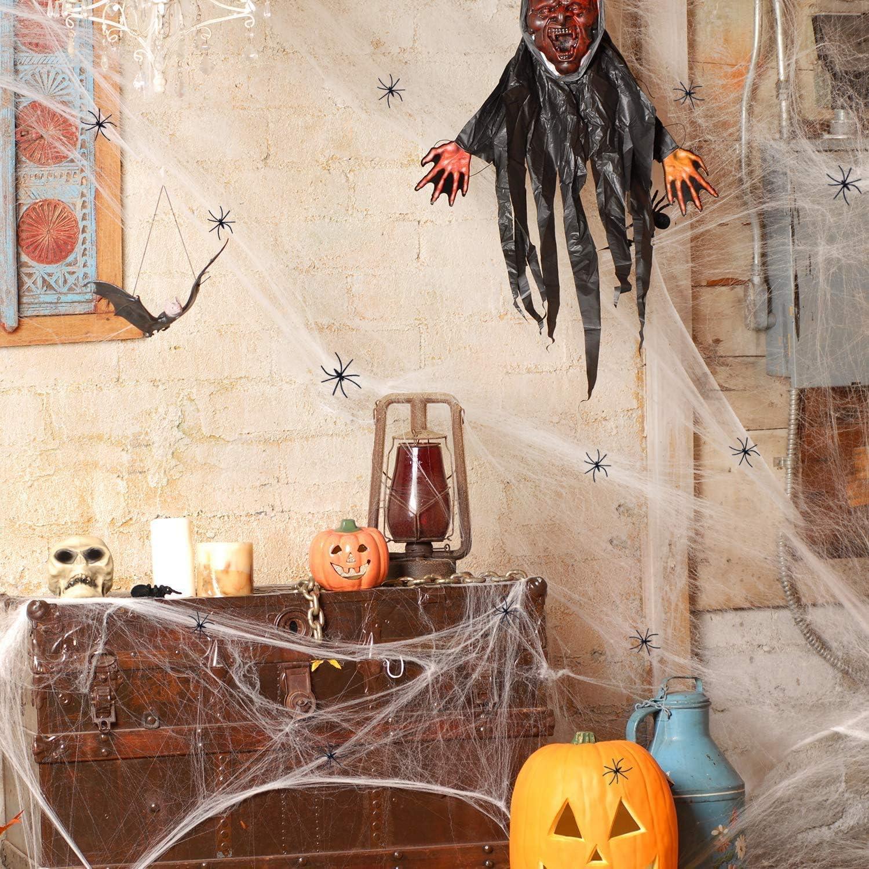 2 Set Ragnatela Decorazioni di Oggetti di Scena di Halloween per la Porta dingresso del Giardino Delle Feste Joyjoz Decorazione di Halloween Ragnatela 2000 piedi quadrati con 60 Ragni