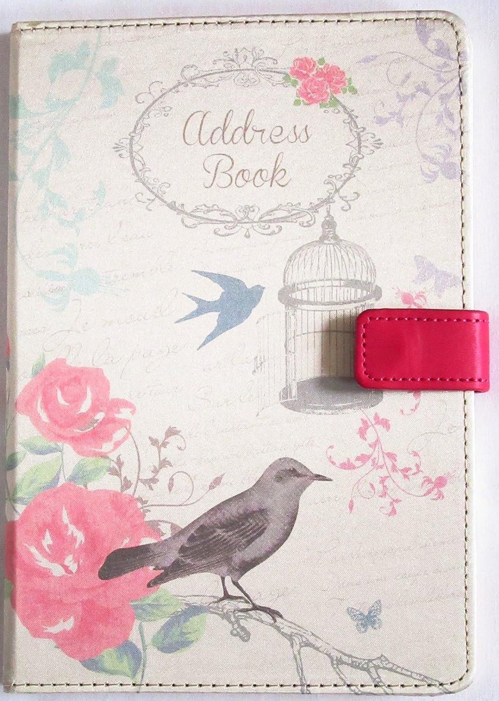 A5 A-Z Address Book HB Bird Linen Cover Press Stud Fastening Tallon